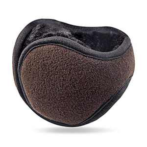 Foldable Brown Ear Warmers for Men Women Z-Dear Polar Fleece/Knit Winter Earmuffs, Behind the Head Winter Ear Warmers,Windproof Ear Warmer