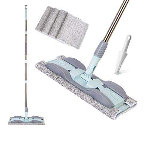 Mop 15 In Microfiber Hardwood Floor Mop 4 Washable Mop Pads Flat Mops for Wet or Dry Laminate Tile Floor Cleaning Wet Mop With Durable Extended Handle