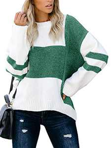 Tutorutor Womens Long Sleeve Color Block Crew Neck Sweaters Oversized Striped Chunky Knit Pullover Fall Jumper Tops Green