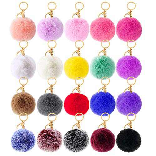20 Pcs Faux Fur Ball Pom Poms Keychains for Handbag Purse Fluffy Ball (With Lobster Buckle)