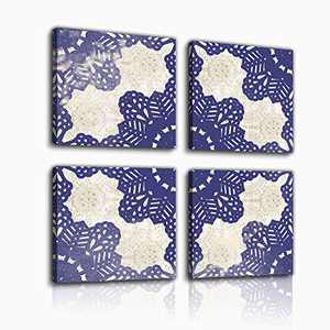 Bedroom decorates canvas wall art navy blue leaf flower design watercolor prints bathroom abstract picture modern frame wall decorates art work to hang 4 wall decorations for the living room