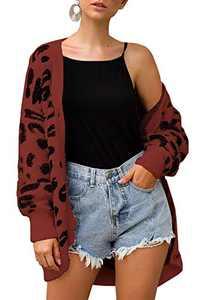 BTFBM Women Fashion Leopard Print Button Down Long Sleeve Soft Loose Knit Sweater Cardigan Coat Fall Winter Outwear (Coffee, X-Large)