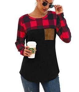 Mingnos Women's Cotton Blend Loose Long Sleeve Plaid Pullover T-Shirt Tops (Red Plaid+Black, XL)