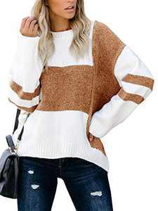 Tutorutor Womens Long Sleeve Color Block Crew Neck Sweaters Oversized Striped Chunky Knit Pullover Fall Jumper Tops Khaki