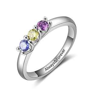Personalized Mothers Rings with 2/3/4 Simulated Birthstones Custom Mother Daughter Ring Jewelry for Women Engagement Wedding Promise Rings for Her (3 stones, 6)