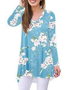 WNEEDU Women's Fall Long Sleeve V-Neck T-Shirt Tunic Tops Blouse Shirts (Flower Light Blue,3XL)