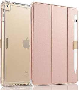 Valkit Case for iPad 8th Generation(2020)/7th Generation(2019) , iPad 10.2 Case with Pencil Holder, Translucent Frosted Back Protective Smart Cover for 10.2 inch, Auto Wake/Sleep, Rose Gold Pink