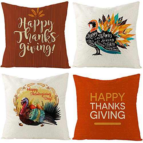 Calonyction Set of 4 Fall Throw Pillow Covers Pumpkin Patch Autumn Theme Farmhouse Decorative Cushion Case for Sofa Couch Decor 18 x 18 Inches (Thanksgiving-2)