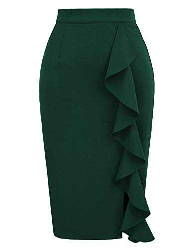 Women's Ruffle Bodycon Knee Length Midi Pencil Skirt L Dark Green