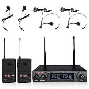 Metal Wireless Receiver, Phenyx Pro UHF Wireless Microphone System with 2 Bodypacks, 2 Lapels and 2 Headsets, Fixed Frequency, 16 Hrs Long Battery Life, Ideal for Church, Outdoor Events (PTU-51C)