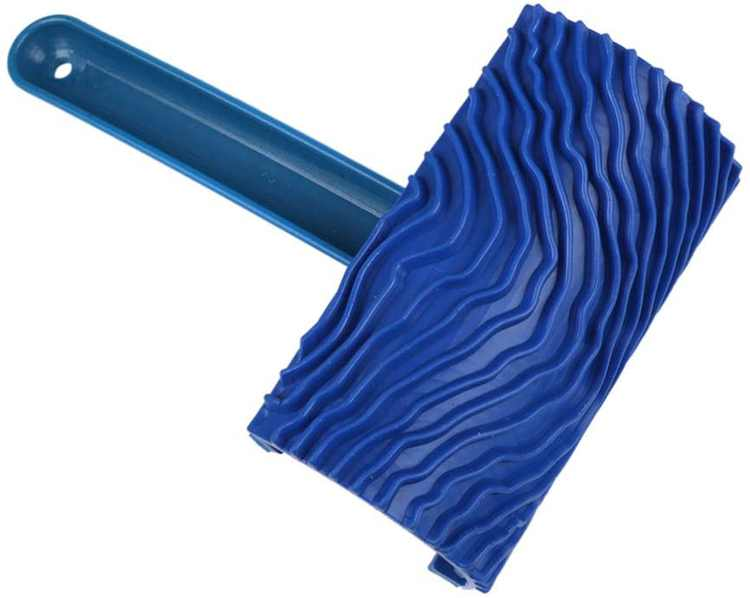 Vosarea Paint Brush Wood Painting Roller Graining Pattern Tool with Handle Rubber Wall Painting Roller for DIY Craft Wall Decoration (Blue)