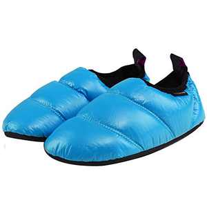 KingCamp Unisex Warm Camping Slippers Soft Winter Slippers with Non Slip Rubber Sole & Carry Bag (7 Colors), 3.5-4.5, Blue