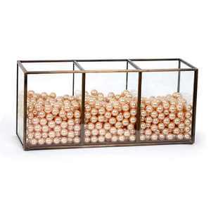 CANDIKO Glass Makeup Brush Holder Jar with Pearls