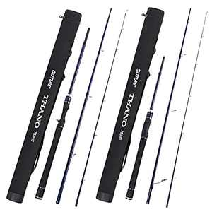 Goture Fishing Rods Spinning Travel Fishing Pole Pack case Portable 3 Sections Ultralight Weight Carbon Fiber Poles M Power Medium Action 6ft 6.1