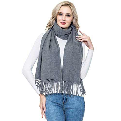 Cashmere Pashmina for Women, vimate Winter Thick Grey Cashmere Scarf Shawls and Wraps for Women/Men
