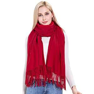 Cashmere Scarf Wrap, vimate Winter Warm Red Pashmina Cashmere Shawl Wrap for Women/Ladies