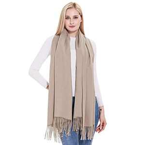 Cashmere Warm Shawl, vimate Winter Warm Solid Beige Pashmina Cashmere Shawls and Wraps for Women/Ladies