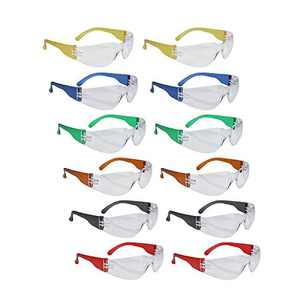 ROAR Assorted Safety Glasses 12 pairs per box Eyewear Protective Glasses Safety Goggle Airsoft Goggle, Strong Impact Resistant Lens for Laboratory, Construction, Industrial Safety, Craft