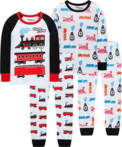 Boy Train Pajamas Christmas Baby Clothes Children Cotton Kids 4 Pack 4-Pieces Pants Set 5t