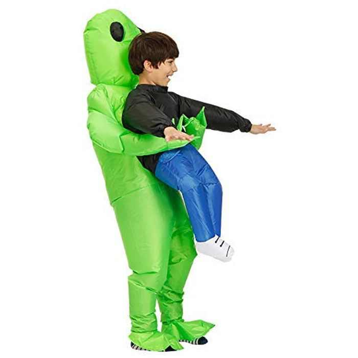 BOLANA Green Alien Carrying Human Costume Inflatable Dinosaur Mascot Party Costume Fancy Dress Cosplay Fancy Dress Outfit, Halloween Carnival Costumes Kid