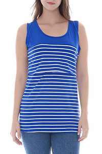 Smallshow Women's Maternity Nursing Tank Tops Stripe Pull-up Breastfeeding Shirt Medium Blue
