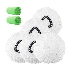 4 Pack Mop Head Replacement Microfiber Mop Refills Spin Mop Replacement Head Easy Cleaning Replacement Mop Heads Includes 2 Microfiber Cloths