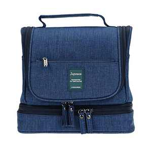 Hanging Toiletry Bag for Men Women, Japoece Portable Waterproof Travel Toiletry Cosmetic Bathroom Shower Bags with Metal Hook Double Layer Large Capacity Durable(Navy Blue)