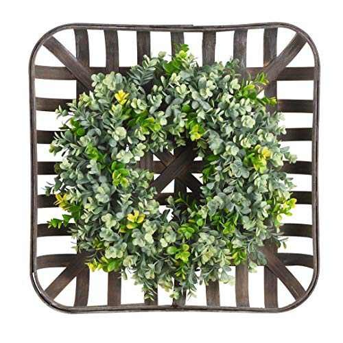 WANNA-CUL 20 Inch Artificial Green Leaves Farmhouse Boxwood Wreath with Square Tobacco Basket for Front Door, Large Indoor Outdoor Spring Summer Door Wreath Decor for Wall or Home Decorations