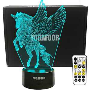 YODAFOOR 3D Wing Unicorn Night Light for Kid, Flying Unicorn Toy Christmas Birthday Gift for Teen Girl Women, Unicorn Room Party Decor, 7 Color Changing, Timing Dimming Remote Control LED Bedside Lamp