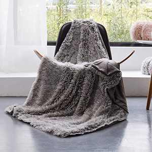 GONAAP Faux Fur Throw Blanket Decorative Super Soft Fuzzy Shaggy Luxurious Cozy Plush Fluffy Long Hair Comfy Microfiber Fleece Reversible for Coach Bed Chair Sofa Grey 60''80''