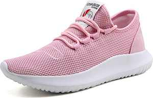 CAMVAVSR Women's Casual Shoes Fashion Slip on Sneakers Youth Breathable Mesh Soft Sole Tennis Run Walk Athletic Sport Outdoor Shoes for Young Women Pink Men Size 5 Women Size 6.5