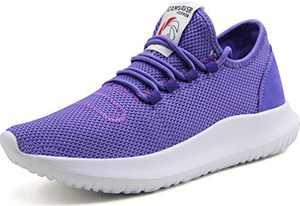 CAMVAVSR Women's Tennis Shoes Big Boys Slip on Lightweight Soft Sole Comfortable Flexible Fashion Sneakers for Young Women Purple Youth Men Size 6 Women Size 8