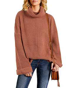 Tutorutor Womens Casual Turtleneck Chunky Sweaters Pullover Oversized Batwing Sleeve Loose Knitted Baggy Slouchy Jumper (Small, 1 As Show)