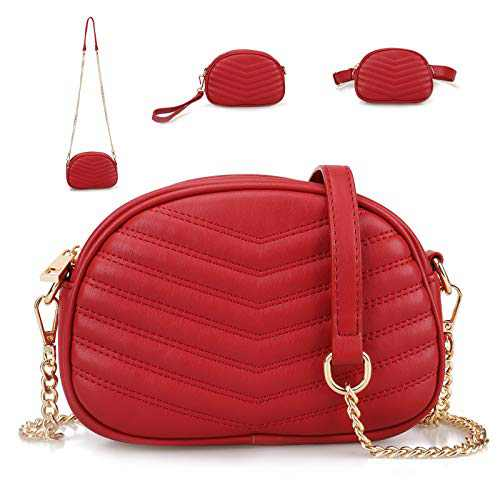 3 in 1 Fashion Waist Bags for Women Stylish Shoulder Purses with Chain Strap Small Ladies Fanny Packs Versatile Belt Bag for Teen Clutch Purse Red