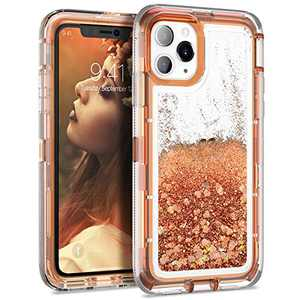 Dexnor Compatible with iPhone 11 Pro Max Case 6.5 inch Glitter Bling Clear Hard PC 3D Liquid Cover TPU Silicone Shockproof Protective Heavy Duty Defender Bumper for Girls Women Light Brown