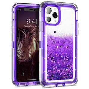 Dexnor Compatible with iPhone 11 Pro Case 5.8 inch Glitter Clear Hard PC 3D Flowing Liquid Cover TPU Silicone Shockproof Protective Heavy Duty Defender Bumper for Girls Women Purple