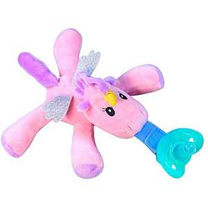 """Infant Soothie Snuggle Pacifier with Detachable Plush Toy - BPA-Free Silicone Pacifier Teether - Stuffed Animal Unicorn Pacifier Holder - 5"""" Long"""