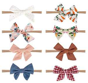 Baby Girl Headbands and Bows, Nylon Baby Headbands, Handmade soft and Stretchy Headbands for Baby Girls Newborn Infant Toddlers Kids Gifts