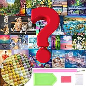 Ginfonr 4 Pack DIY Random Surprise 5D Diamond Painting Kits Round Full Drill, Mystery Lucky Surprise Paint with Diamonds Art Kits Craft Rhinestone Embroidery for Home Wall Decoration XB009