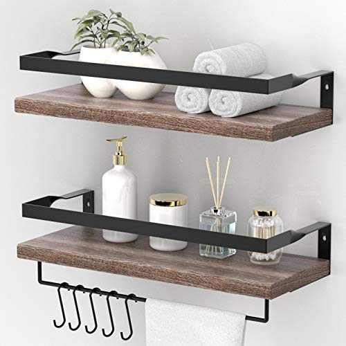 ENDOTO Floating Shelves with Towel Bar, Wall Mounted Storage Shelves Organizer for Bathroom, Kitchen, Bedroom, Living Room & Hallway, Set of 2