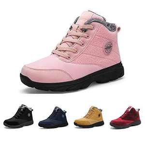 BenSorts Winter Boots for Womens Fur Lined Anti-Slip Warm Snow Boots Outdoor Ankle Booties Pink Size 5.5