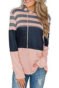 GULE GULE Women Long Sleeve Tops Pullover Hoodies Striped Hooded Patchwork Sweatshirts with Drawstring Pink S