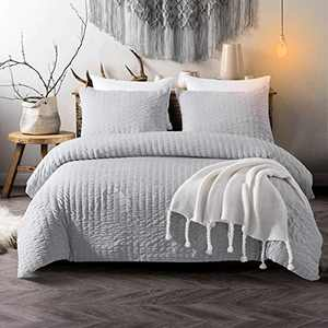 Grey Seersucker Duvet Cover Queen Reversible Textured Bedding Comforter Cover with Zipper Closure, Soft Microfiber Bedding Set for Home Decro Queen Size