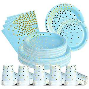 200PCS Blue and Gold Party Supplies Disposable Paper Plates and Napkins Cups Sets for Baby Shower Birthday Party Graduation(50 Paper Dinner Plates 50 Dessert Plates 50 9oz Cups 50 Napkins)