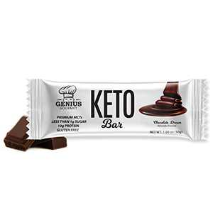 Genius Gourmet Gluten Free Keto Protein Bar, Chocolate Keto Bars, Premium MCTs, Low Carb, Low Sugar (Chocolate Dream, 12 Count (Pack of 1))