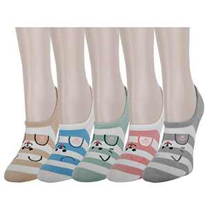 Girl Silly Cute Fun No Show Socks Women Non-Slip Cartoon Animal Liner 5 Pack,Cat