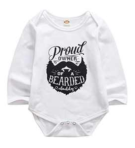 Newborn Baby GOT My Mind ON My Mommy Paws Funny Bodysuits Rompers Outfits Grey White 0-18M (Z-D Proud Owner of a Bearded Daddy, 0-3M)