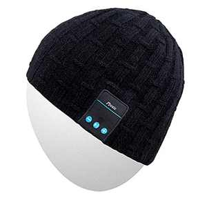 Rotibox Washable Winter Men Women Hat Bluetooth Beanie Running Cap w/Wireless Stereo Headphones Mic Hands Free Rechargeable Battery for Outdoor Sports Skiing Snowboard Camping, Black …