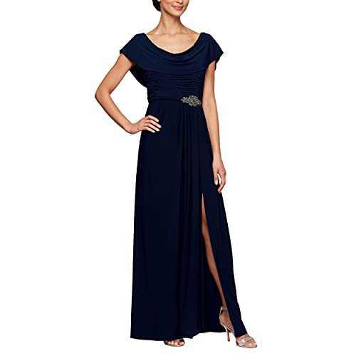 Alex Evenings Women's Petite Long Cowl Neck A-Line Dress, Navy, 16P