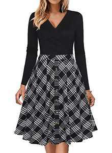 Fantaist Women Winter Dress,Long Sleeve Button Wrap V Neck Casual Swing A Line Office Work Dresses with Pocket (M, FT662-Black Plaid)
